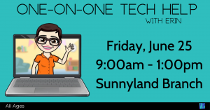 One-on-One Tech Help @ Washington District Library - Sunnyland Branch