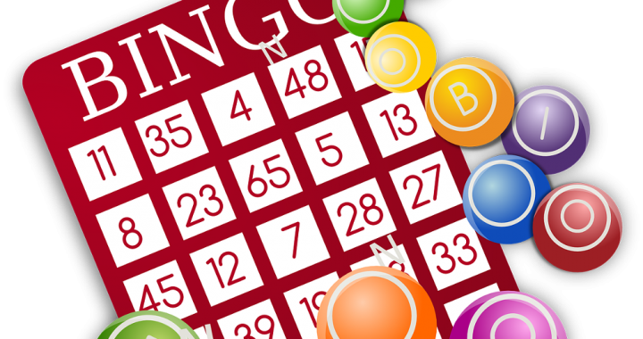 Bingo card and chips