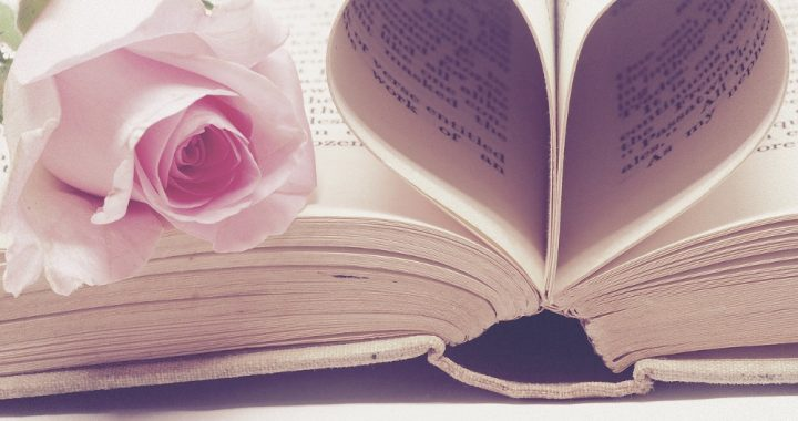 Book with pages folded into a heart and a rose