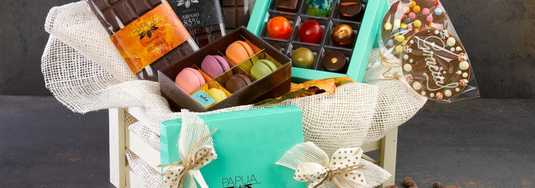 Gift basket of chocolate and cookies