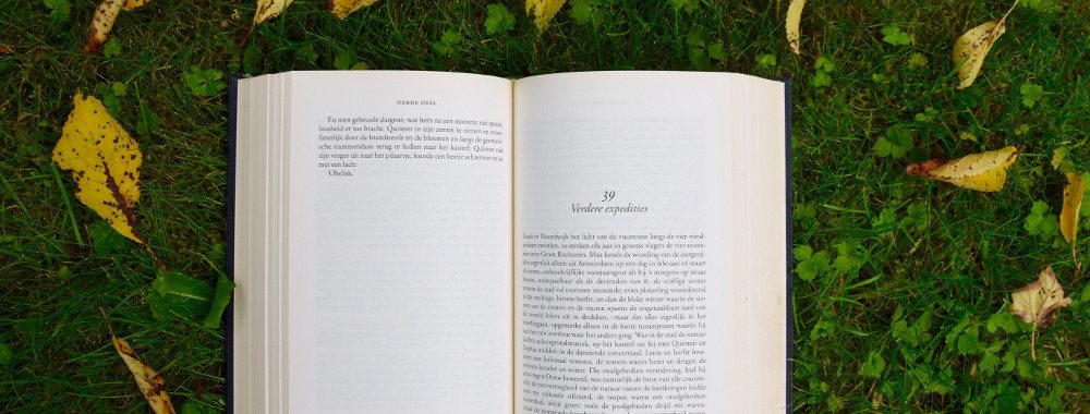 Book lying open in the grass