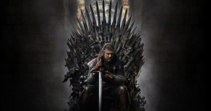 Ned Stark sitting on the Iron Throne