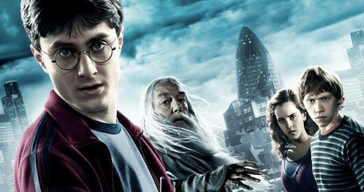 Harry, Dumbledore, Hermione and Ron from the Harry Potter movies, standing in an urban landscape