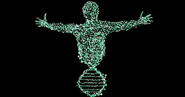Image of a DNA helix morphing into a human torso