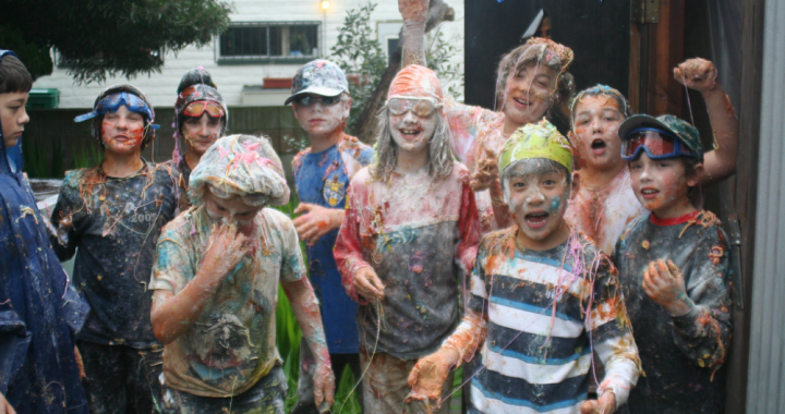 Kids covered in messy food