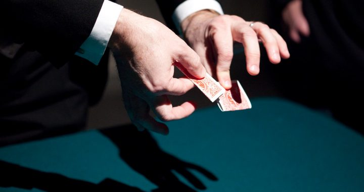 Magician hands with cards