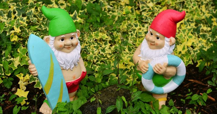 Two garden gnomes standing in leafy plants