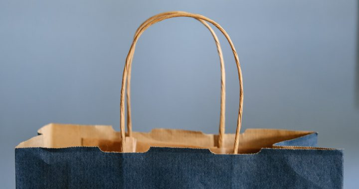 The top of a blue shopping bag