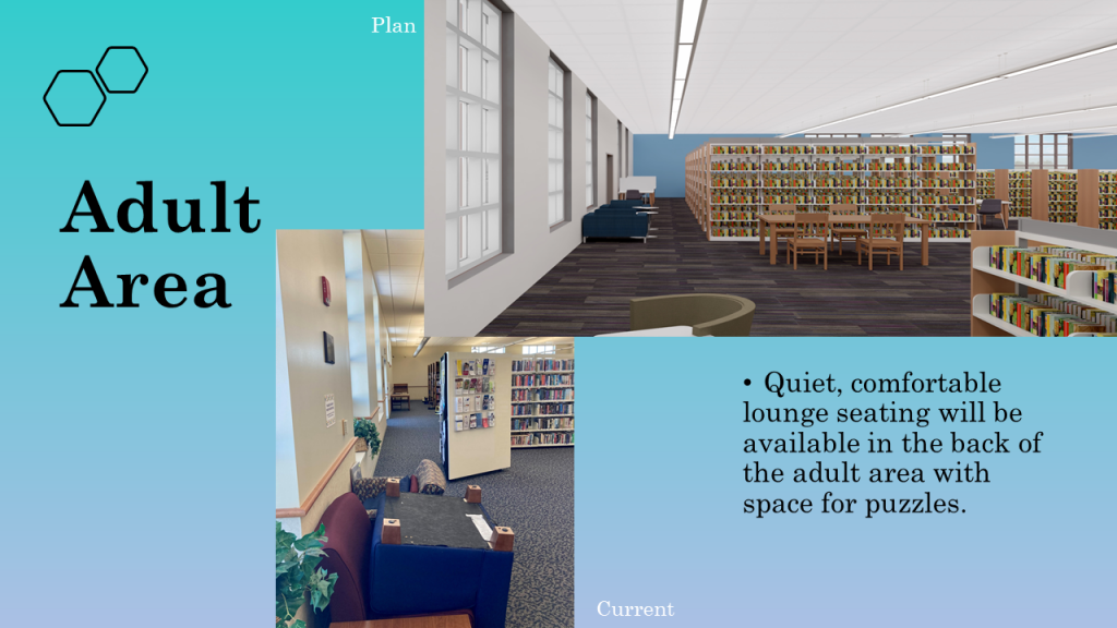 Quiet, comfortable, lounge seating will be available in the back of the adult area with space for puzzles.