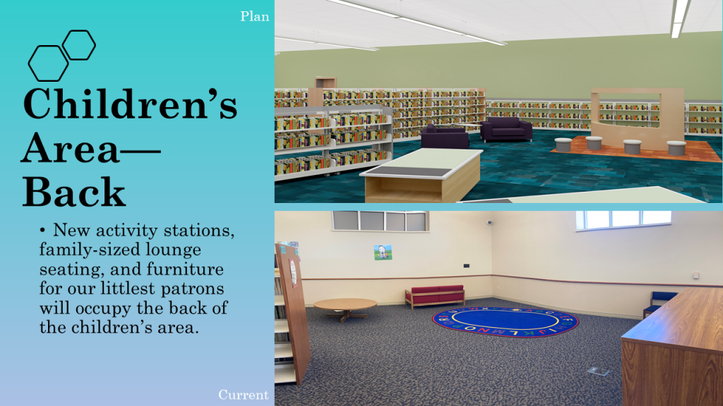 New activity stations, family-sized lounge seating and furniture for our littlest patrons will occupy the back of the children's area.