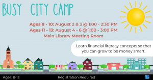 Busy City Camp Ages 8-10 @ Washington District Library- Main Library