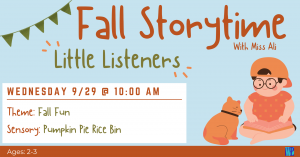 Fall Storytime: Little Listeners @ Washington District Library- Main Library