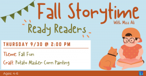 Fall Storytime: Ready Readers @ Washington District Library- Main Library